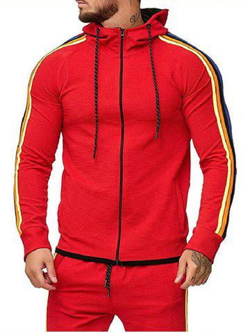 Colorful Striped Trim Zip Up Drawstring Hoodie - RED - M