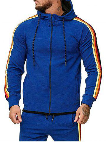 Colorful Striped Trim Zip Up Drawstring Hoodie - BLUE - 2XL