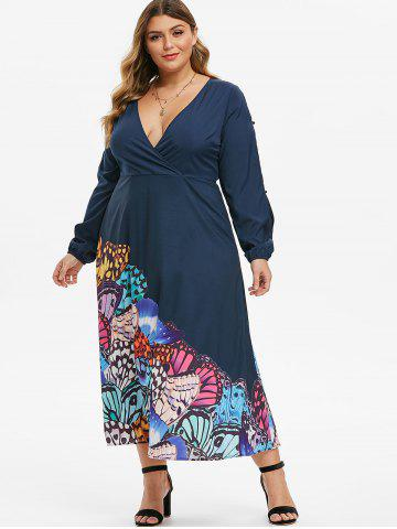 Plus Size Low Cut Butterfly Print Split Sleeve Maxi Dress