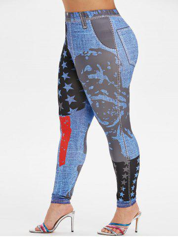 Plus Size High Rise Stars Printed Tight 3D Jeggings