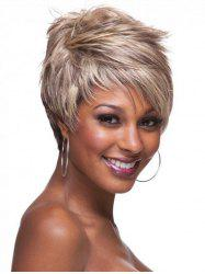Short Inclined Bang Layer Colormix Straight Synthetic Wig -