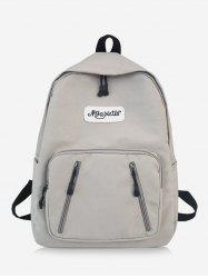 Nylon Solid Splice Letter Backpack -