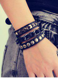 Punk Studded Faux Leather Wrap Bracelet -