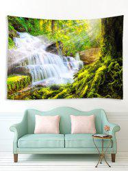 Forest Cascade Scenery Print Home Decor Wall Art Tapestry -