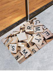 Letter Wood Block Pattern Water Absorption Area Rug -