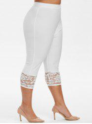 High Waisted Capri Lace Panel Plus Size Pants -