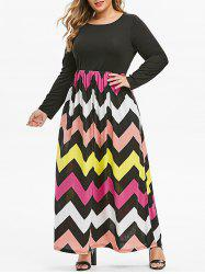 Seam Pockets Colorful Zig Zag Plus Size Maxi Dress -