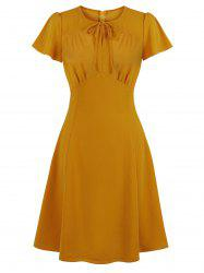 Tie Ruched Keyhole Dress -