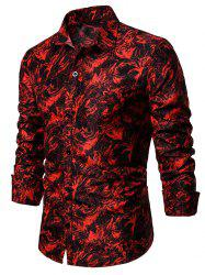 Leaf on Fire Pattern Button Down Shirt -