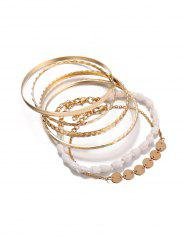 5 Piece Simple Shell Disc Chain Bracelet Set -