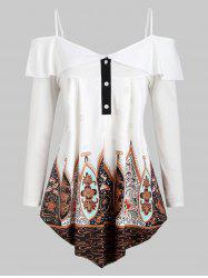 Half Buttoned Printed Cold Shoulder Plus Size Top -