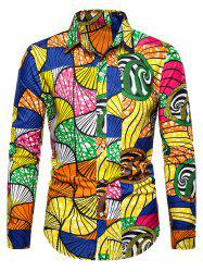 Printed Button Up Slim Fit Long Sleeve Shirt -