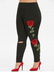 Plus Size Floral Embroidery Ripped Leggings -
