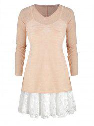 Plus Size Cami Lace Panel Dress And V Neck Knit Top -