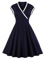 Fit and Flare Surplice Vintage Dress -