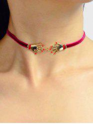 Velour Hand Decorated Choker Necklace -