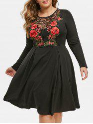 Plus Size Lace Insert Floral Embroidery A Line Dress -