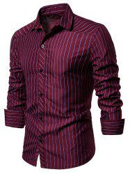 Contrast Pinstriped Button Up Long Sleeve Shirt -