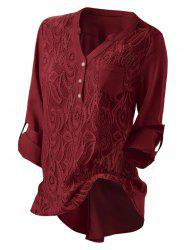 Plus Size Roll Up Sleeve Lace Panel High Low Pockets Blouse -
