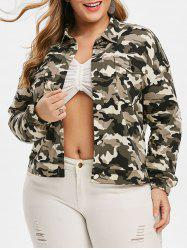 Plus Size Camo Flap Pocket Shirt Veste -