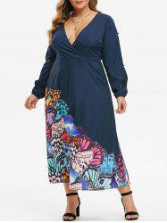 Plus Size Low Cut Butterfly Print Split Sleeve Maxi Dress -