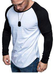 Pleated Shoulder Raglan Sleeve Long Sleeve Tee -