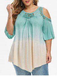 Plus Size Dip Dye Print Cold Shoulder Lace Insert T-shirt -