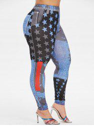 Plus Size High Rise Stars Printed Tight 3D Jeggings -