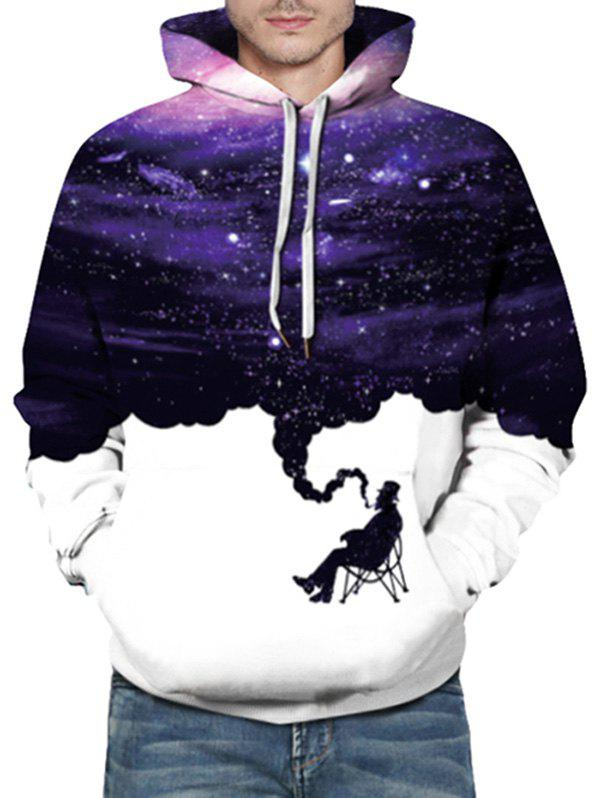Sweat à capuche à manches longues Galaxy Graphic Print Blanc S