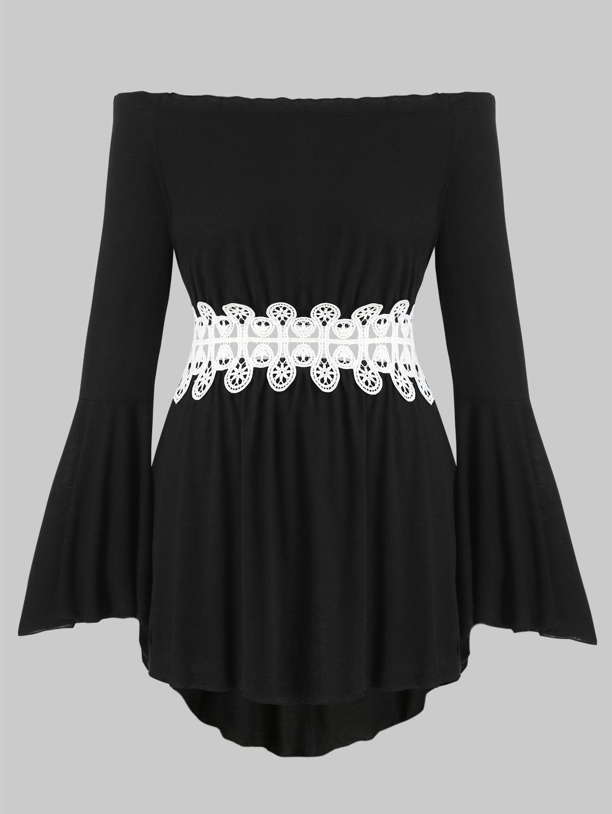 Chic Crochet Lace Panel Off Shoulder Flare Sleeve Plus Size Top
