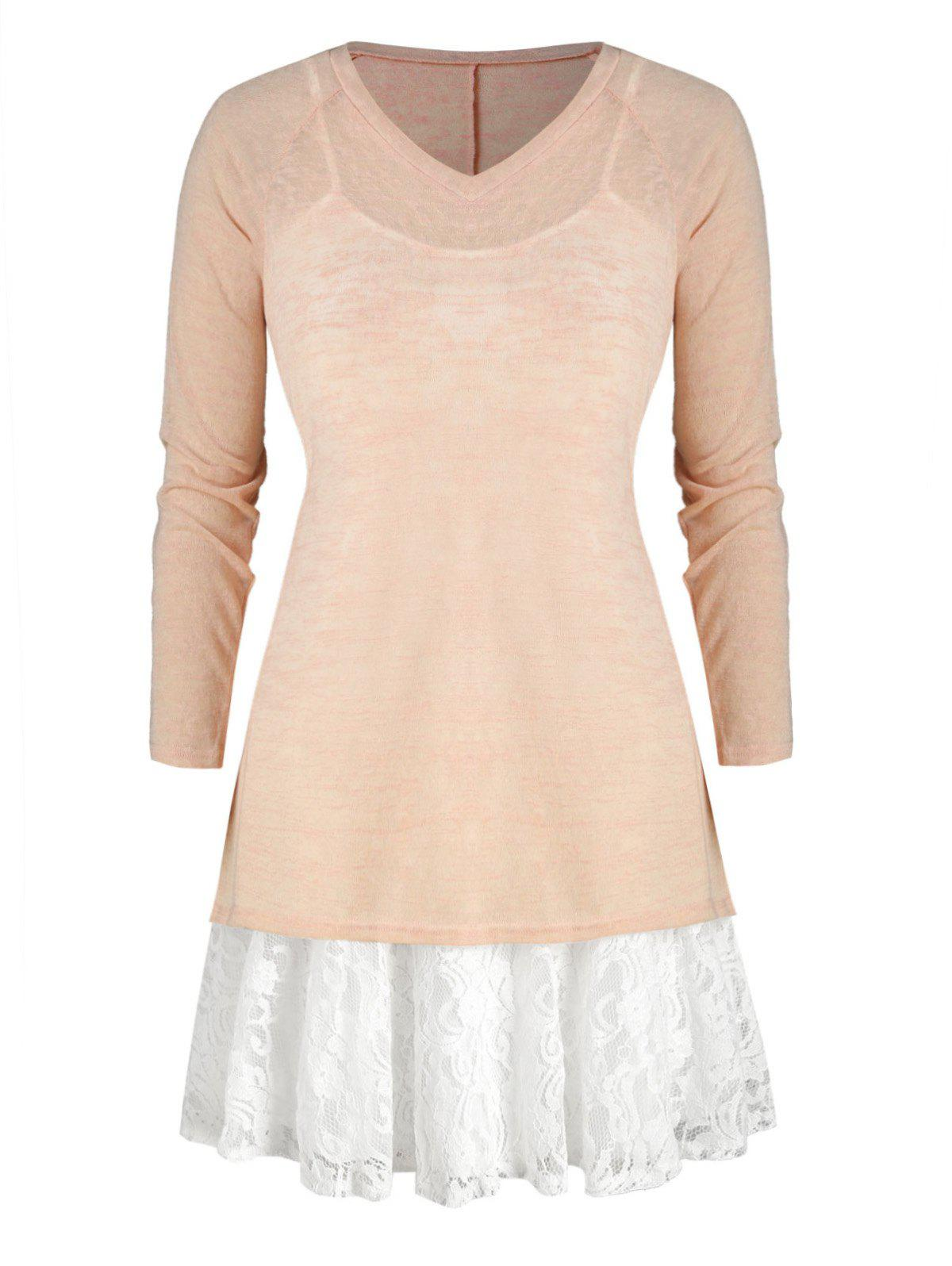 Chic Plus Size Cami Lace Panel Dress And V Neck Knit Top