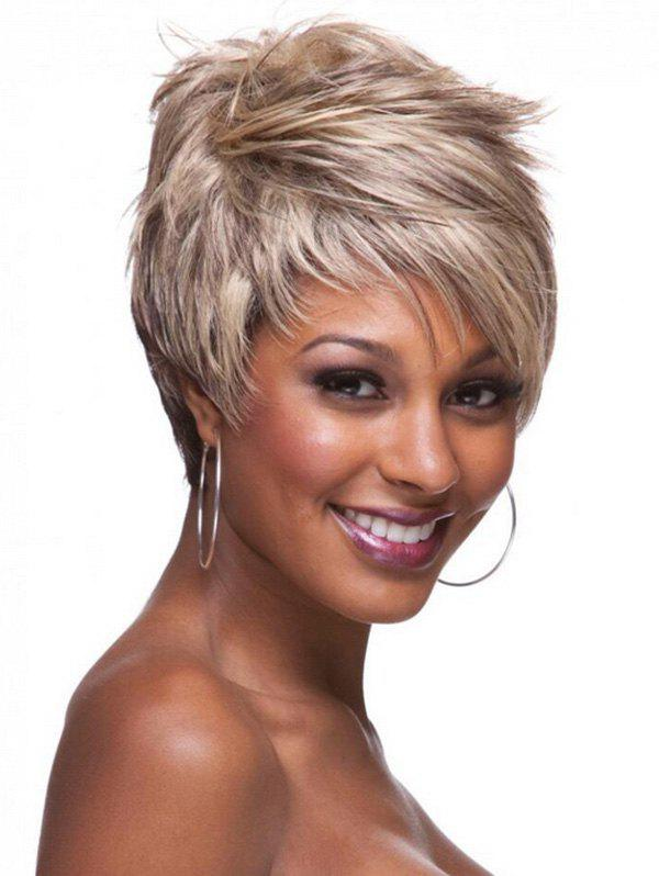 Buy Short Inclined Bang Layer Colormix Straight Synthetic Wig