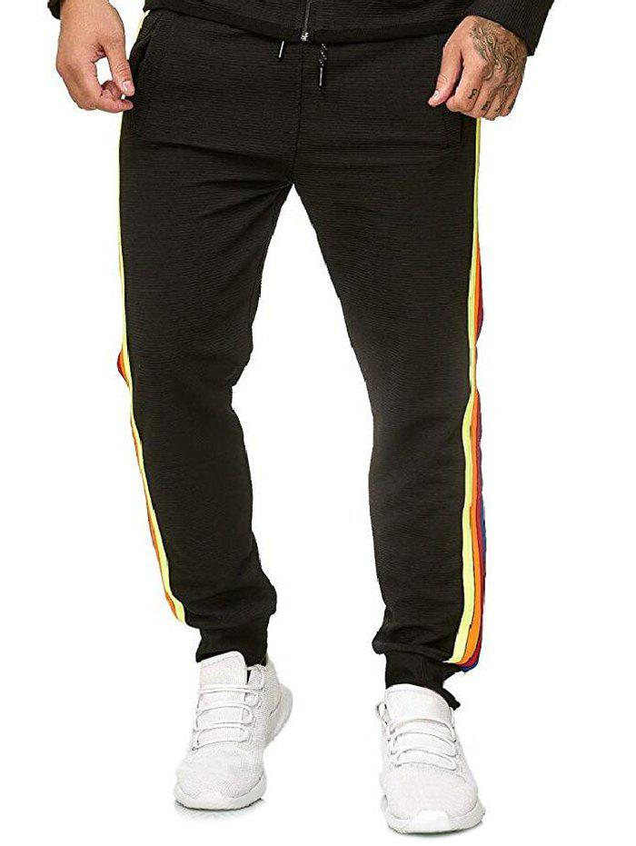 Trendy Side Colorful Striped Drawstring Jogger Pants