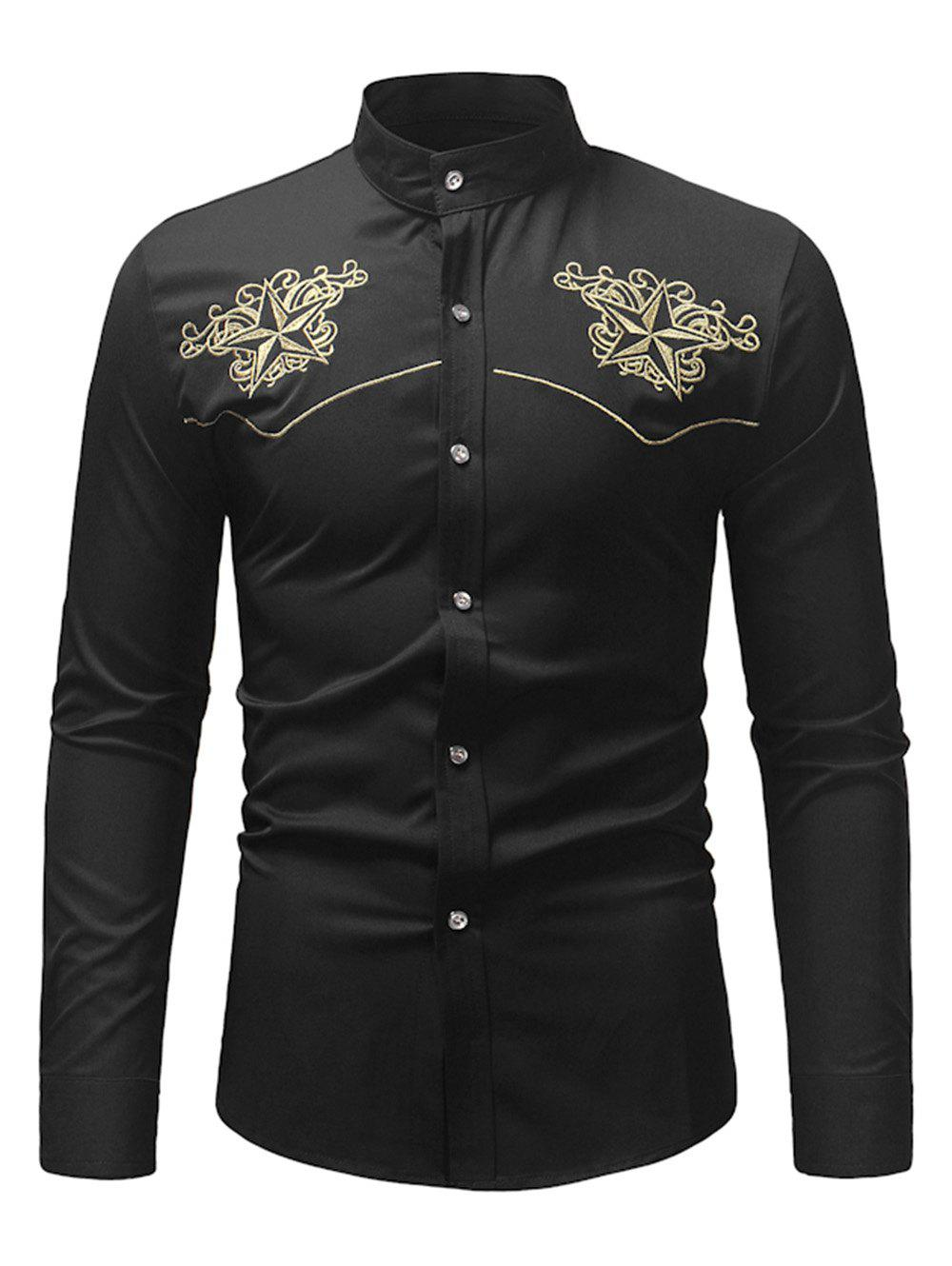 Cheap Star Embroidery Casual Long-sleeved Shirt