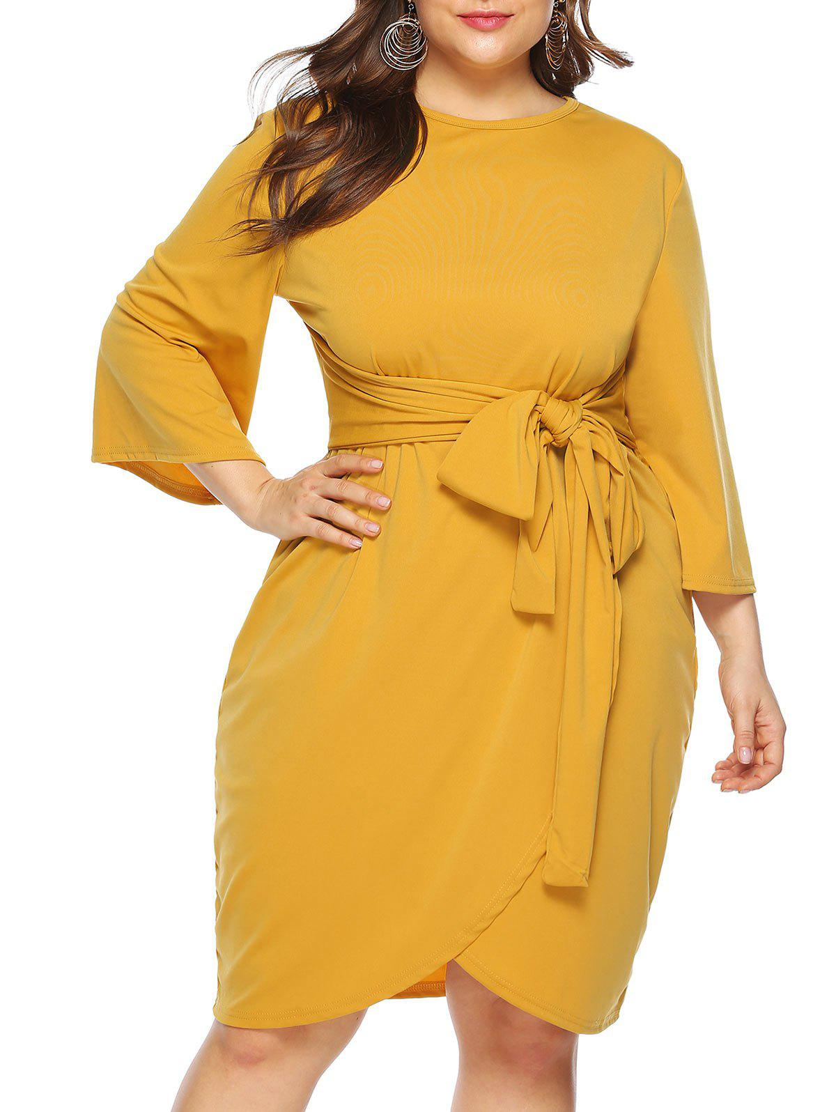 Plus Size Belted Tulip Dress