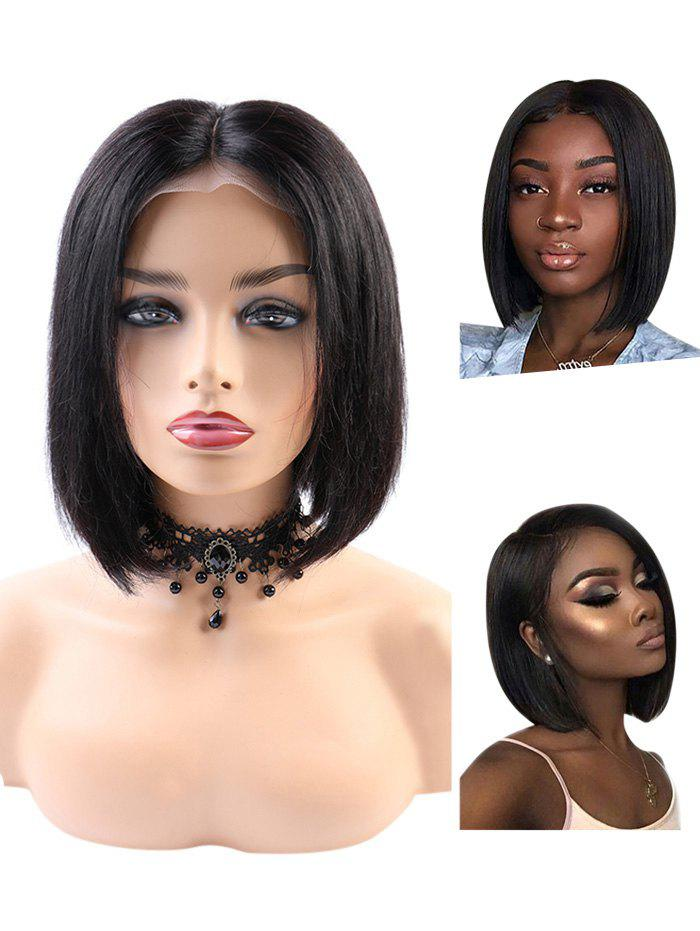 Fancy Short Middle Part Straight Bob Human Hair Lace Front Wig