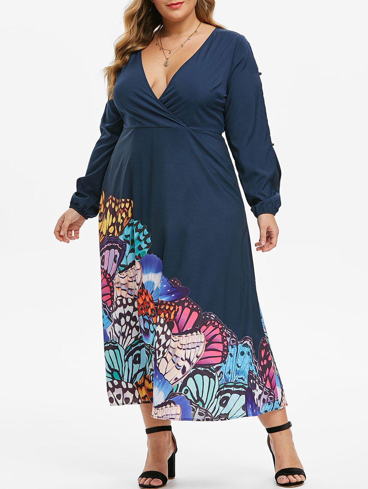 Latest Plus Size Low Cut Butterfly Print Split Sleeve Maxi Dress