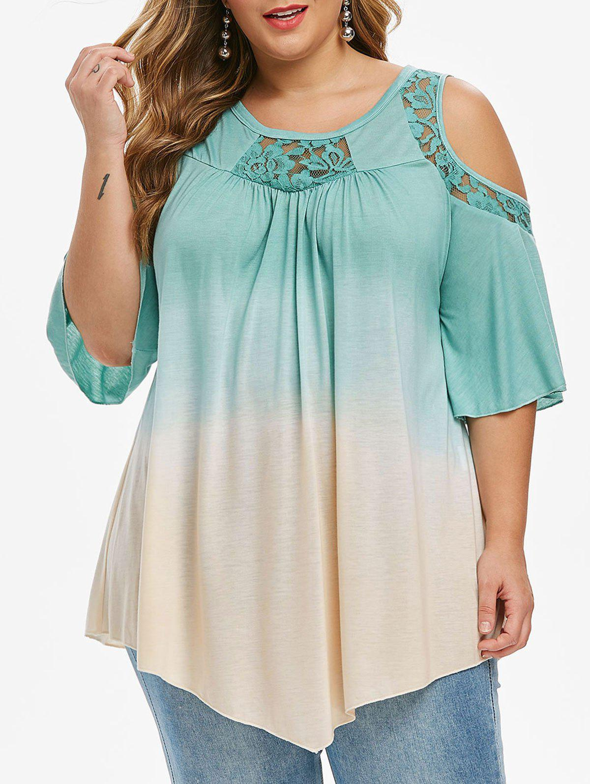 Discount Plus Size Dip Dye Print Cold Shoulder Lace Insert T-shirt