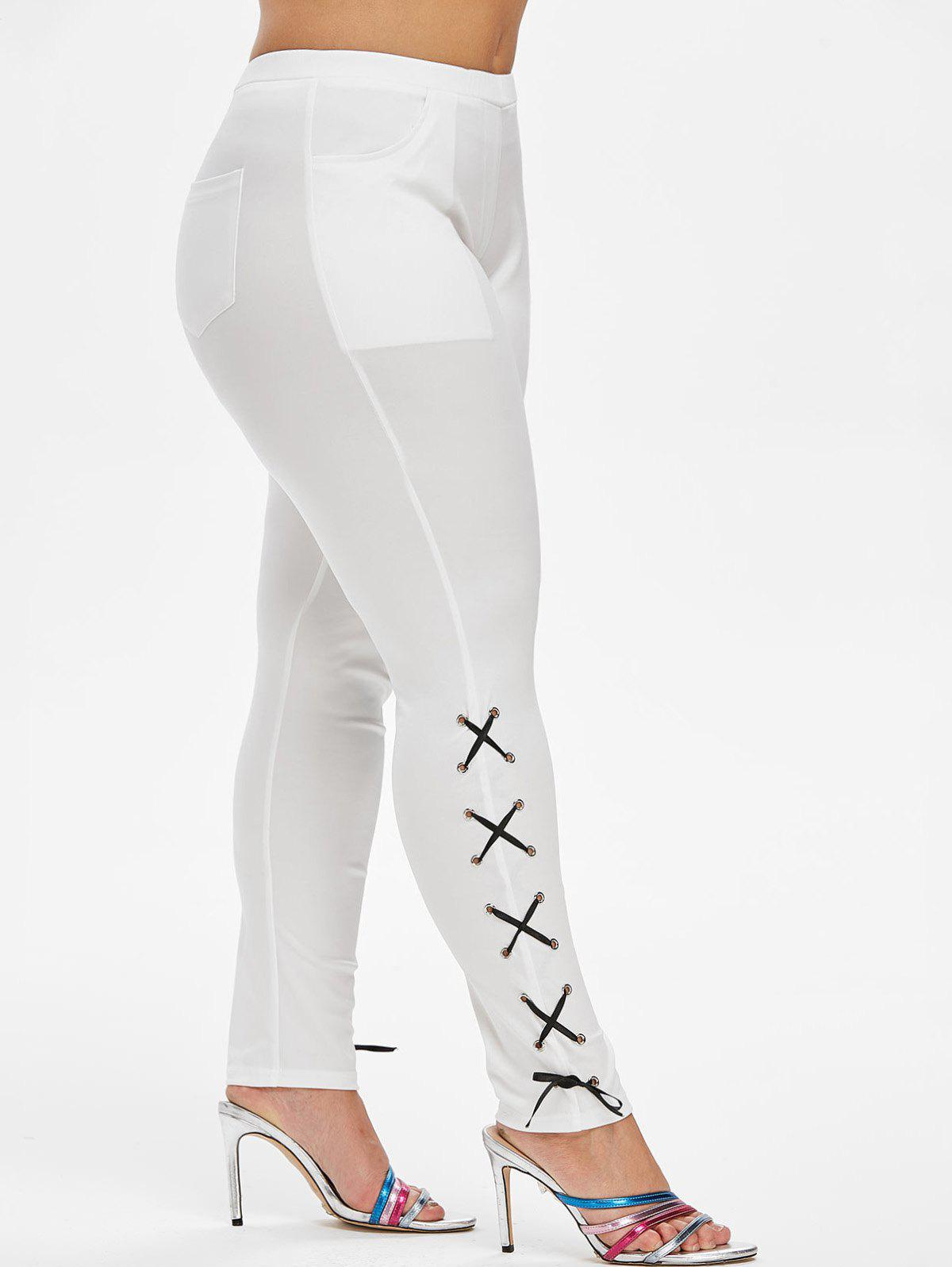 Store Pockets Lace Up Side Skinny Plus Size Pants