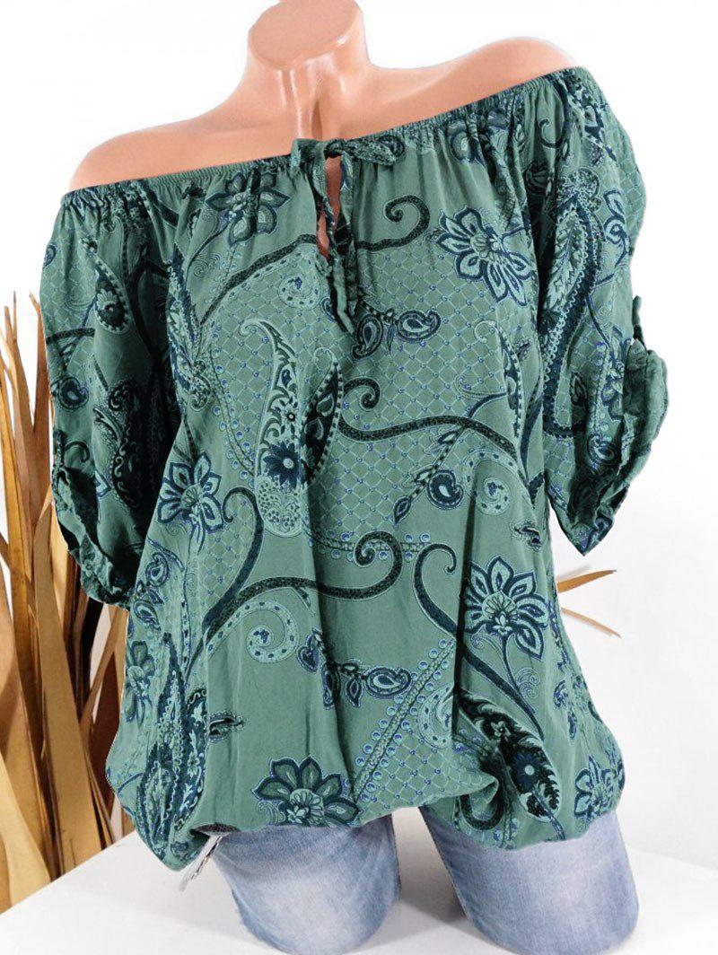 Trendy Tie Paisley Print Roll Sleeve Blouse