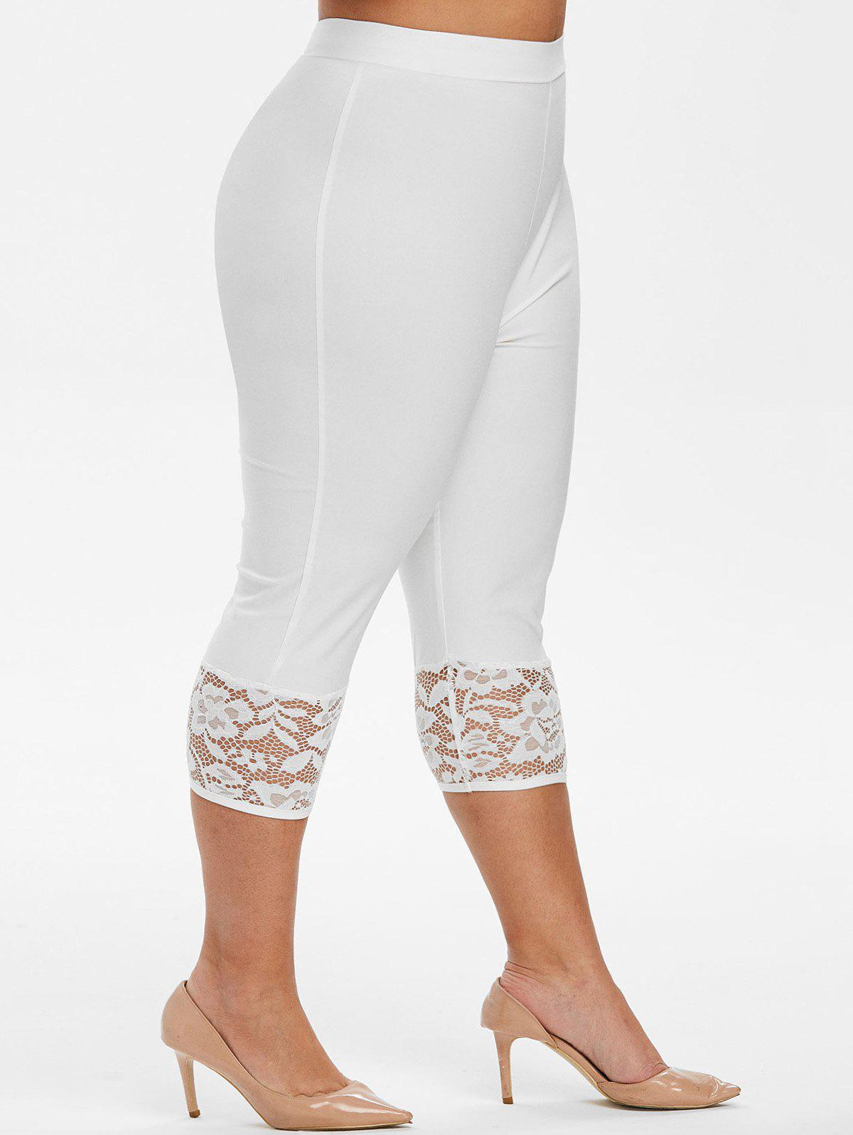 Unique High Waisted Capri Lace Panel Plus Size Pants