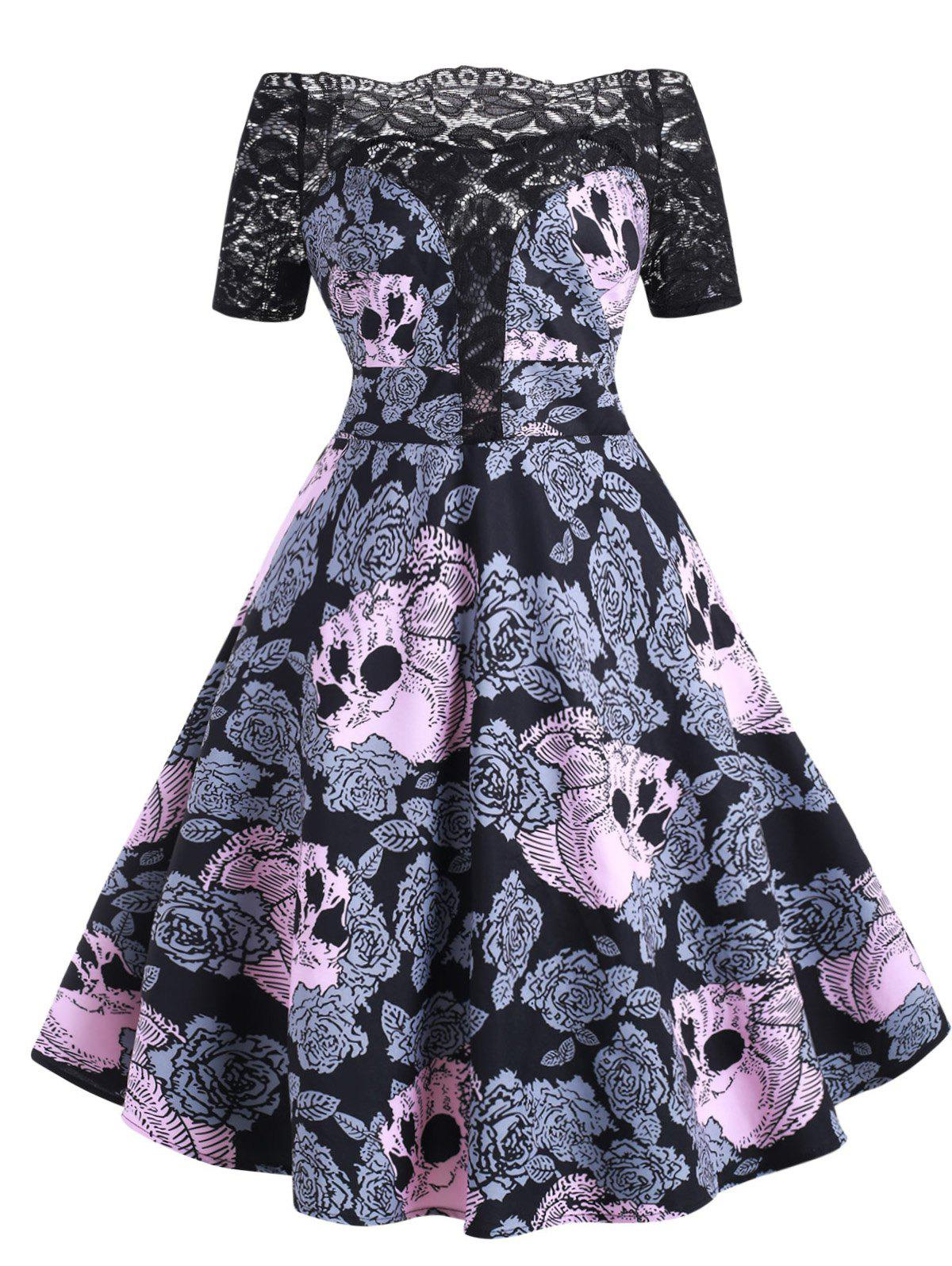 Latest Halloween Lace Panel Floral Skull Off Shoulder Plus Size Dress
