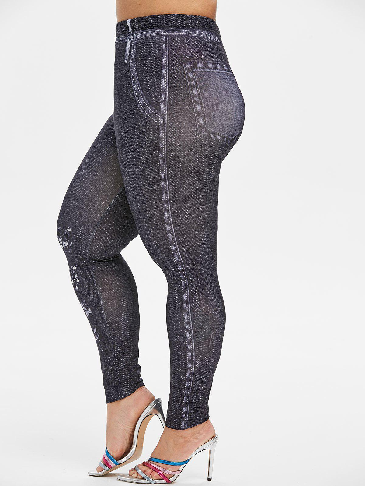 Plus Size 3D Printed High Waist Jeggings фото