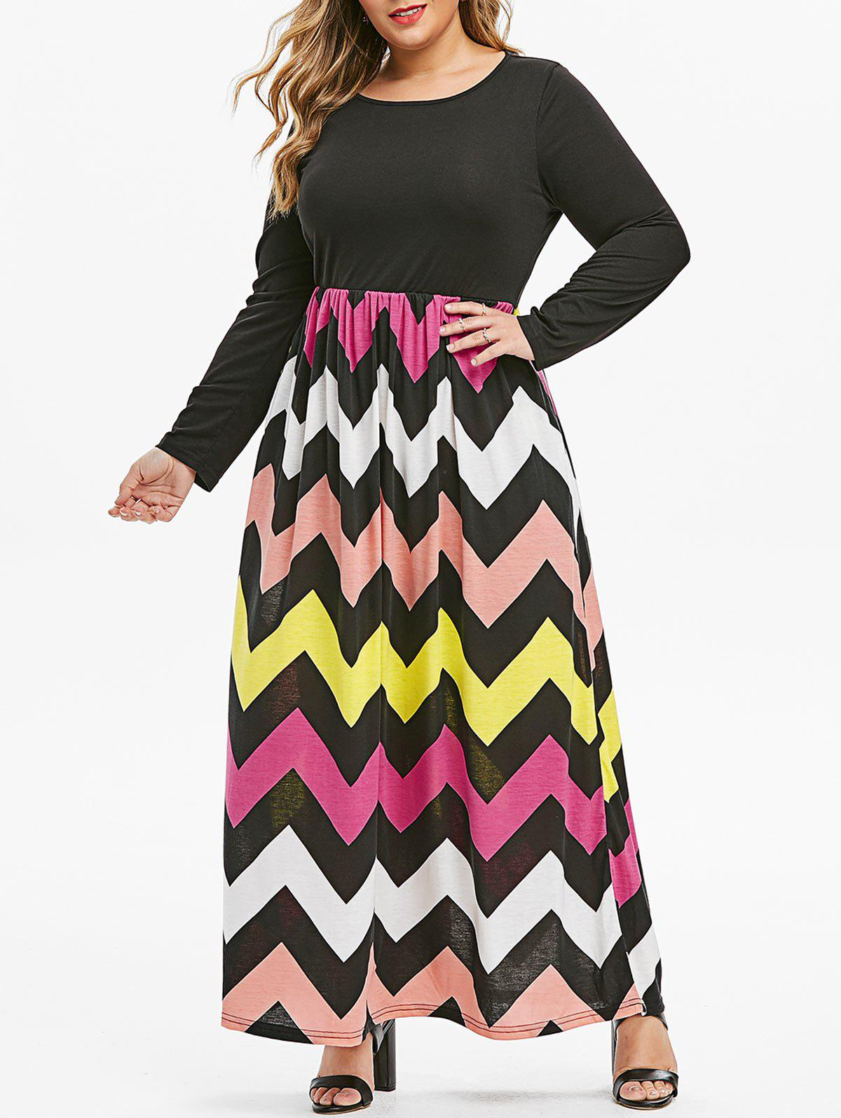 Affordable Seam Pockets Colorful Zig Zag Plus Size Maxi Dress
