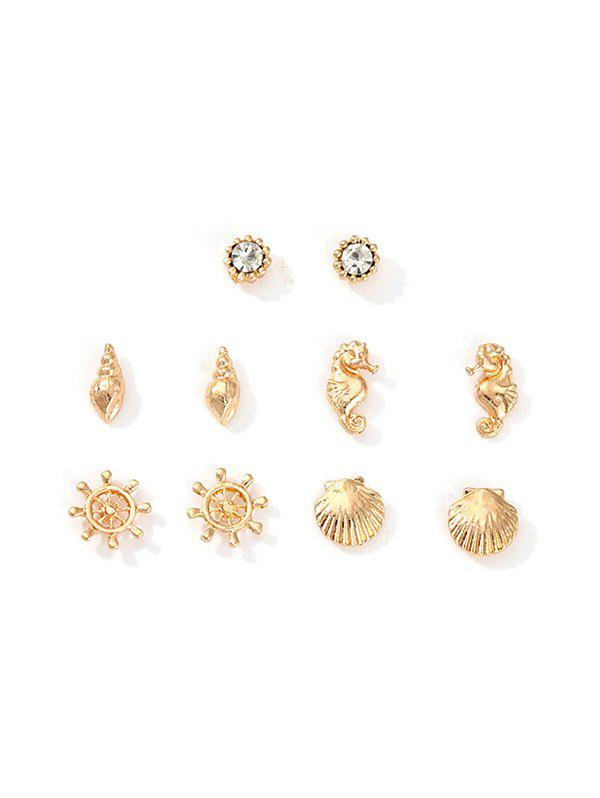 Outfits Nautical Style Hippocampus Shell Rhinestone Stud Earrings Set