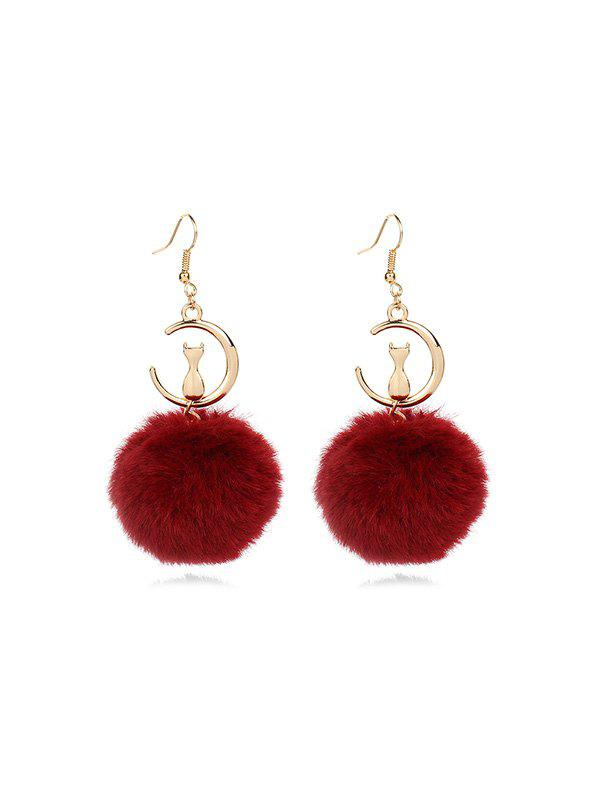 Best Fuzzy Ball Cat Pattern Drop Earrings