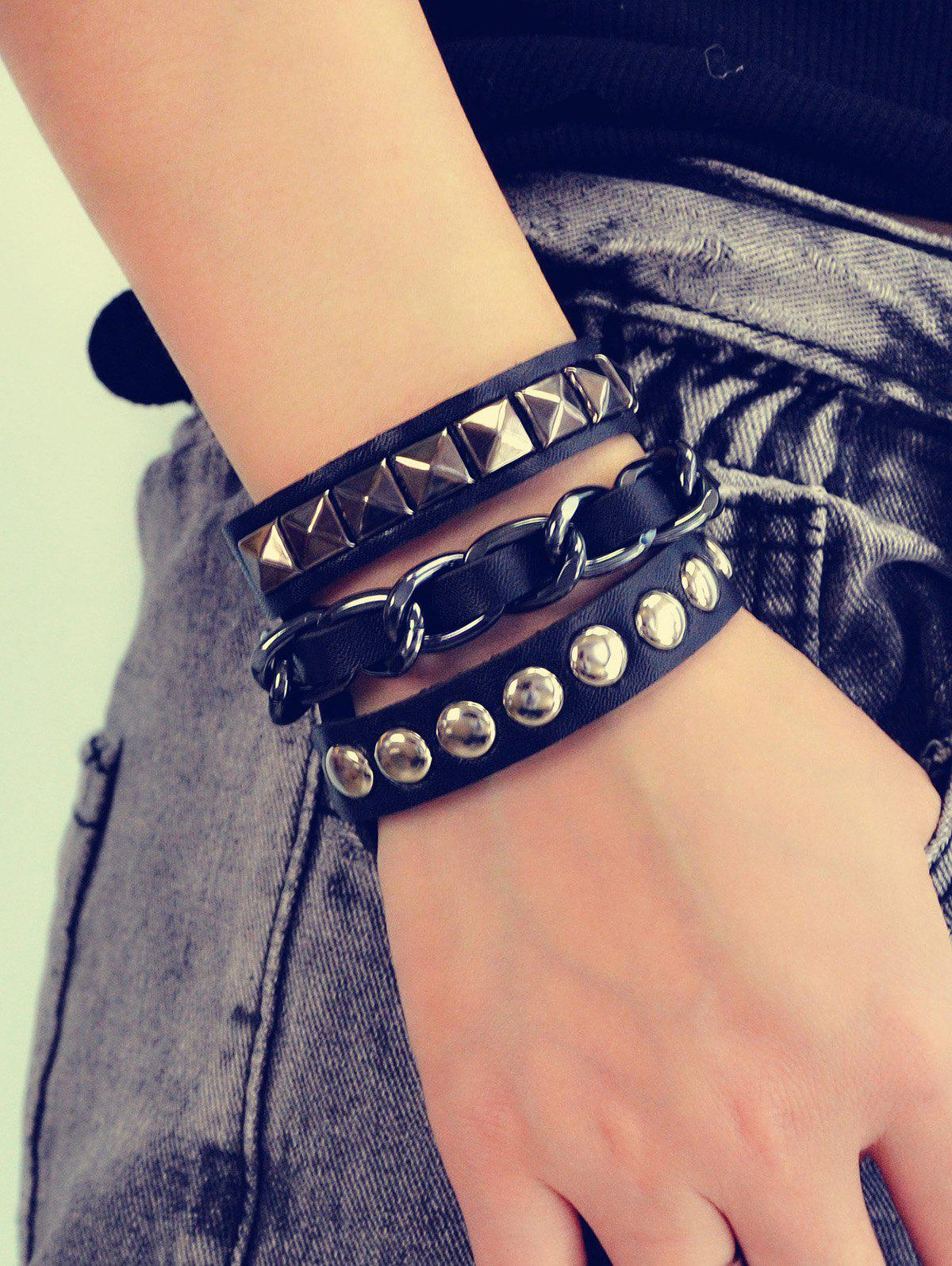 Store Punk Studded Faux Leather Wrap Bracelet