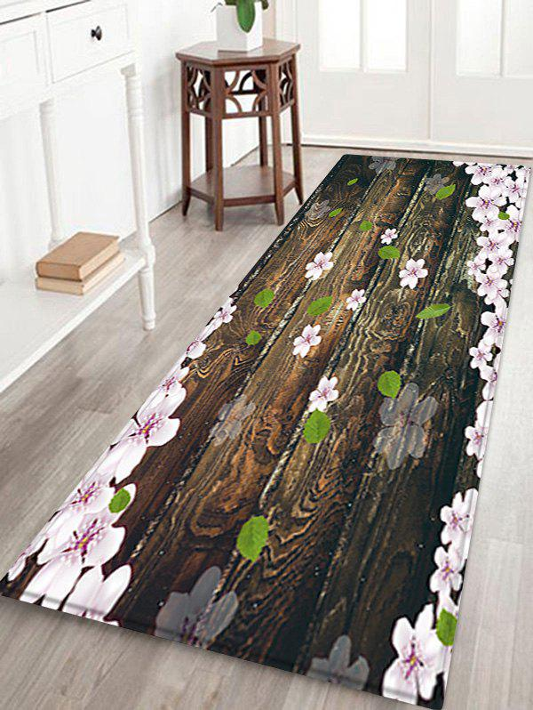 Hot Wooden Board Flowers Patterned Water Absorption Area Rug