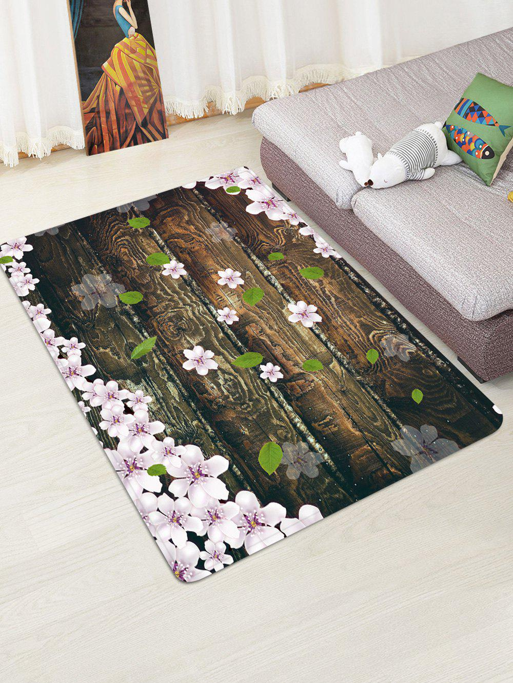New Wooden Board Flowers Patterned Water Absorption Area Rug
