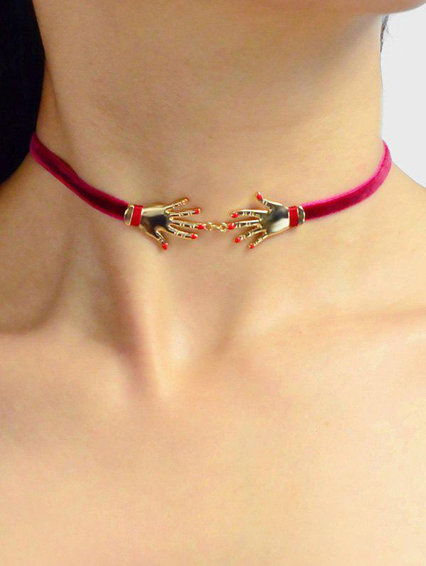 Trendy Velour Hand Decorated Choker Necklace